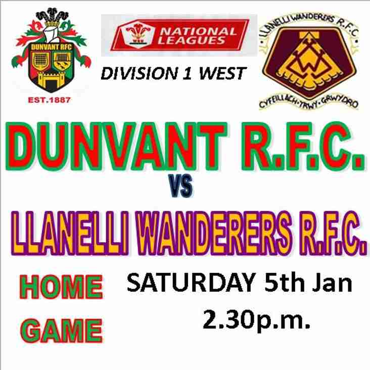 DUNVANT HOST LLANELLI WANDERERS FOR 1st GAME OF 2019 (Jan 5th)