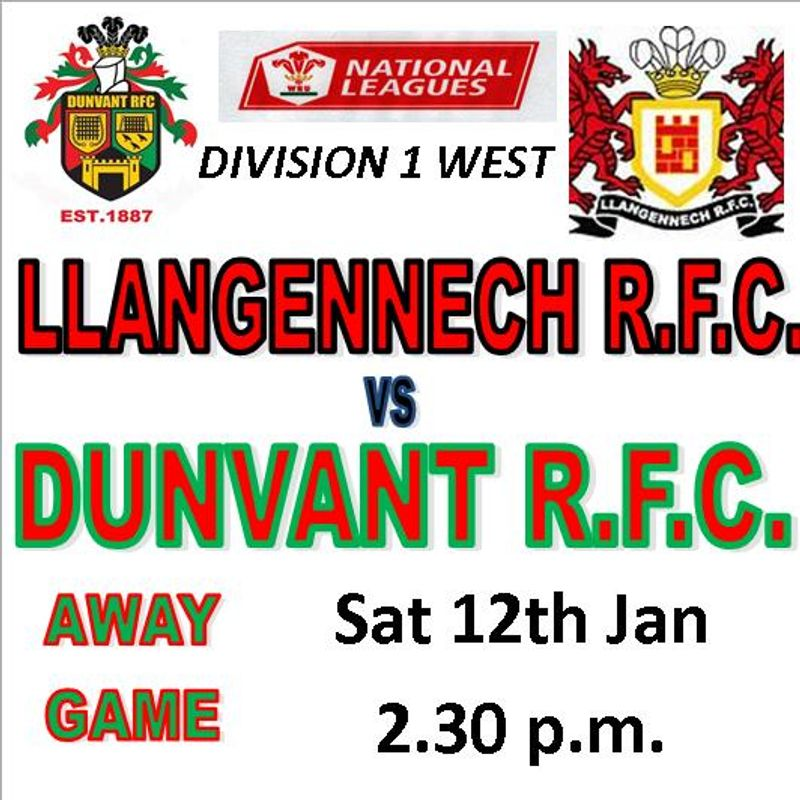 Dunvant go 5th with  a hard fought win at Llangennech (12th Jan)