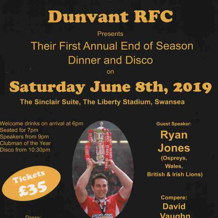 Dunvant R.F.C. presents their 1st Annual End of Season Dinner & Disco on Saturday June 8th