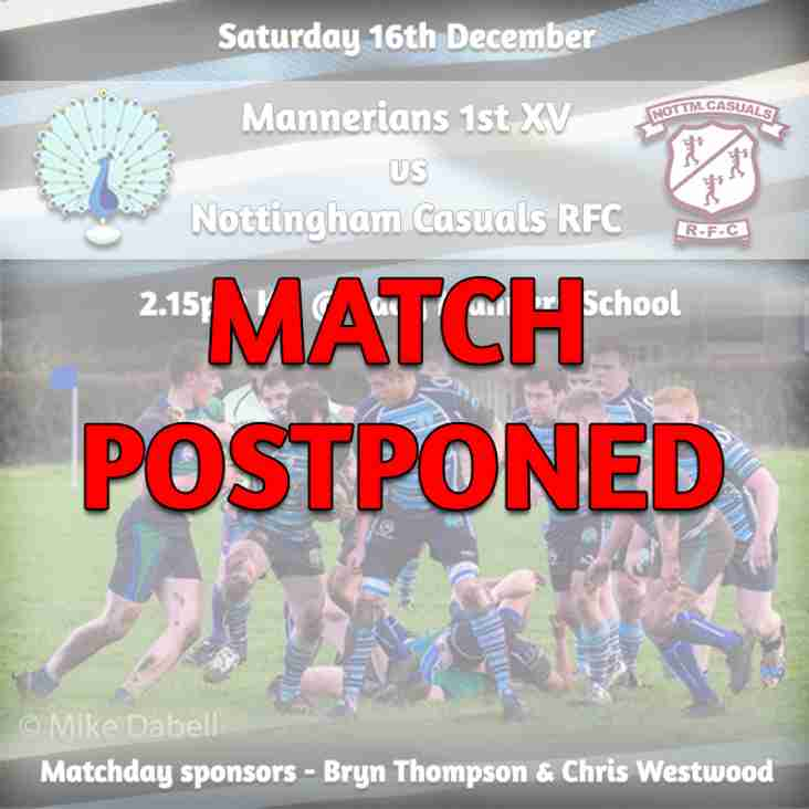 Saturday 16th December - 1st XV fixture CANCELLED