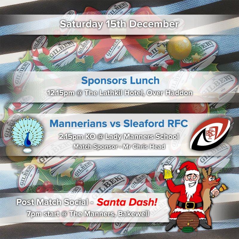 Pre Match Sponsors Lunch - Saturday 15th December