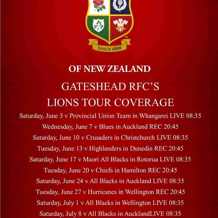 GATESHEAD RFC'S  LIONS TOUR COVERAGE***update***