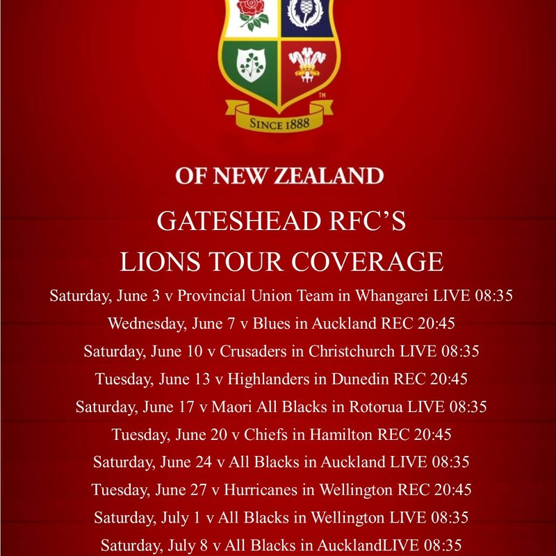 GATESHEAD RFC'S  LIONS TOUR COVERAGE