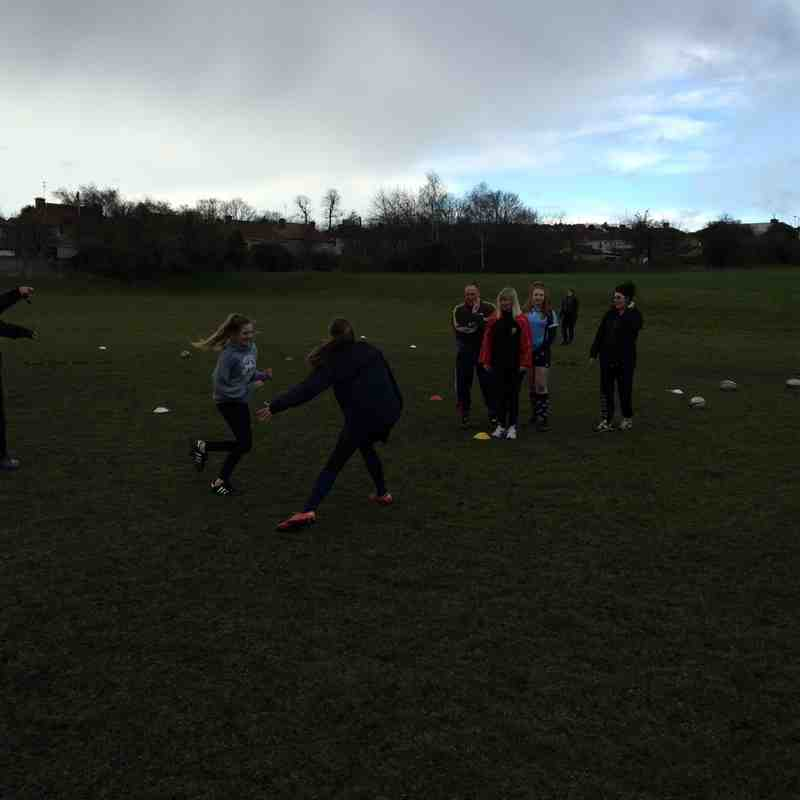U13 girls and parents training