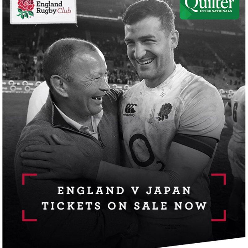 Ticket Alert: England v Japan - 2018 Quilter International