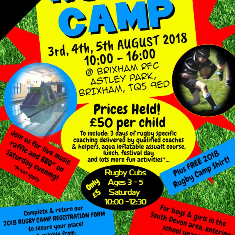 Brixham RFC Youth - Summer Rugby Camp 2018