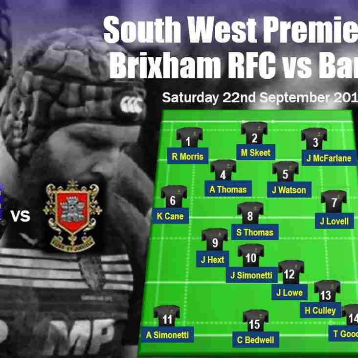 First XV team selection for Saturday's South West Premier game against Barnstaple