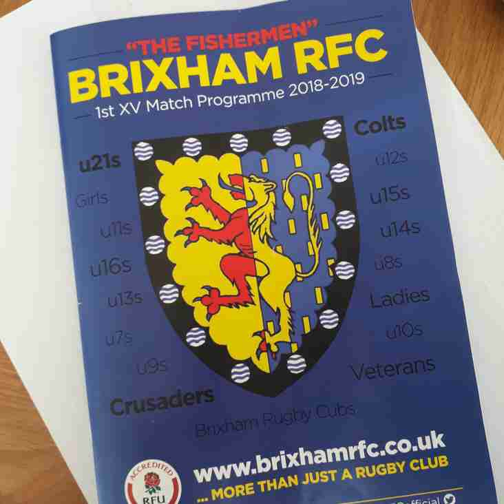 New look Brixham RFC Match Programme - what do you think?
