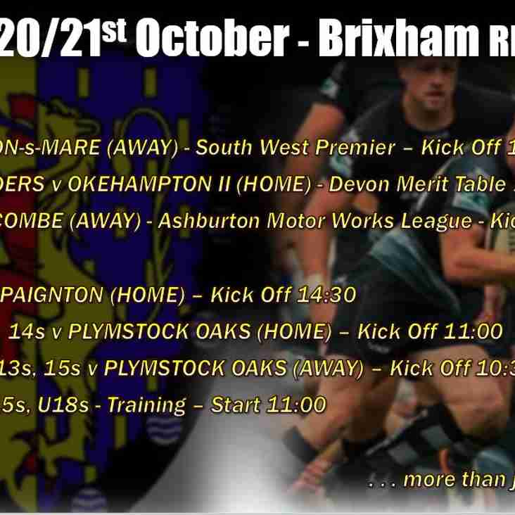 Extensive choice of Brixham RFC rugby fixtures for this coming weekend