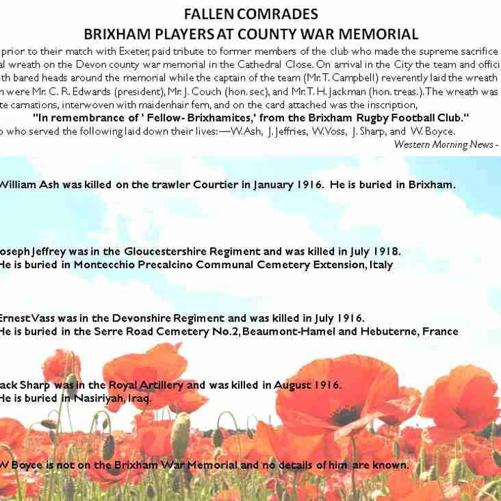 Armistice Day - Remembering Brixham RFC's fallen