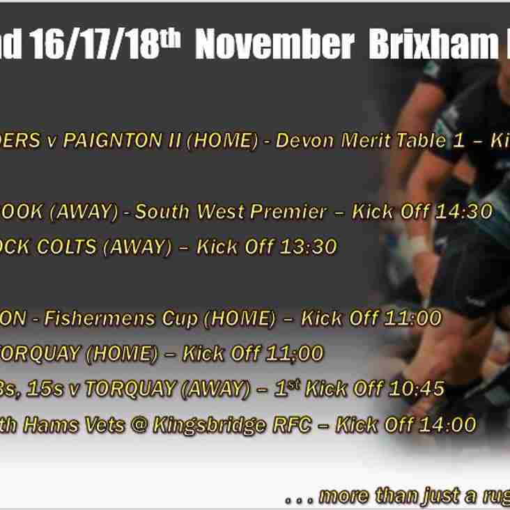 Brixham RFC rugby fixture list for this coming weekend - full and varied as usual!
