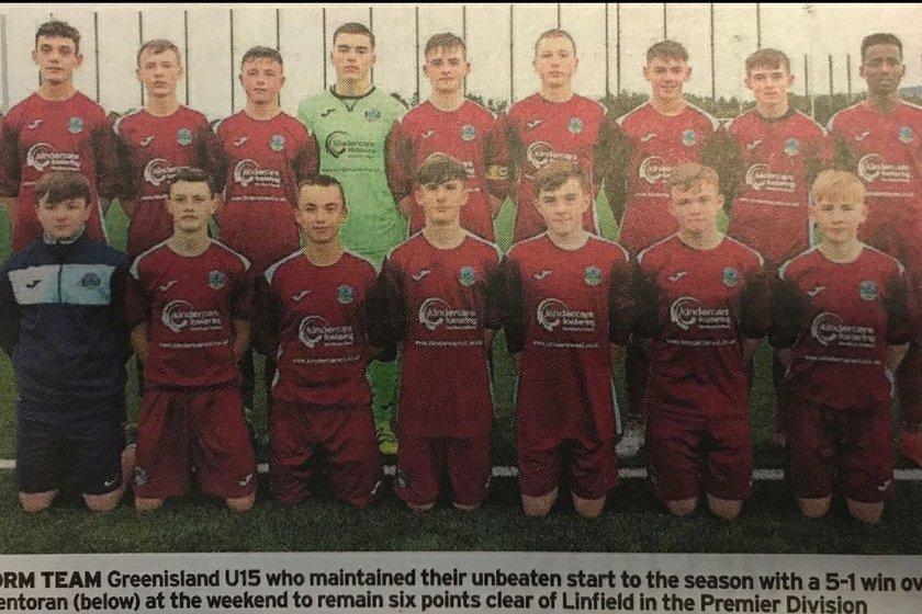 Greenisland Under 15's win over Glentoran