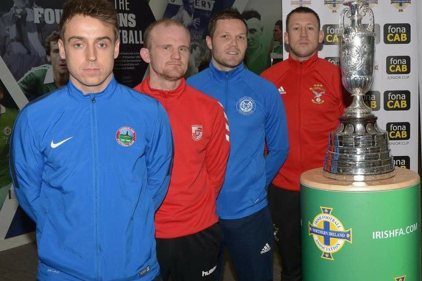 Michael McNeill GFC (front), at Junior Cup draw.