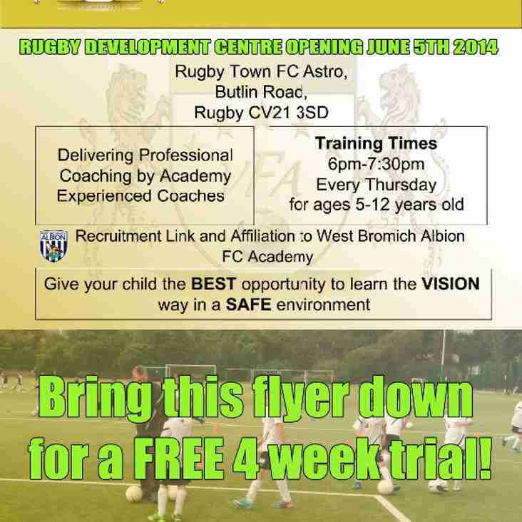 Rugby Player Development Centre opens Thursday 5th June