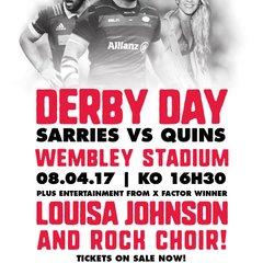 Saracens v Harlequins Derby Day at Wembley Stadium 8/4/17 details and booking guide