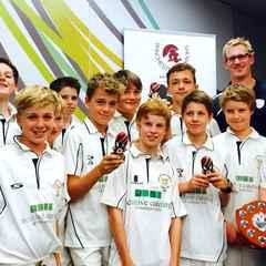 Hampshire Captain congratulates Easton boys