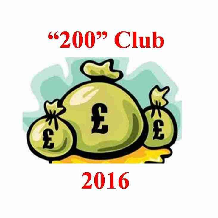 CRICKET CLUB IMPROVES 200 CLUB FOR 2016!