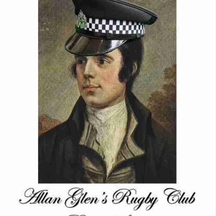 ALLAN GLENS  RUGBY CLUB  BURNS SUPPER