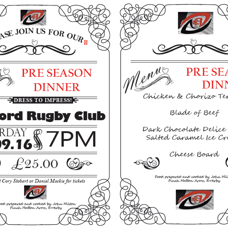 PRE SEASON DINNER 3RD SEPTEMBER 7PM TIL LATE
