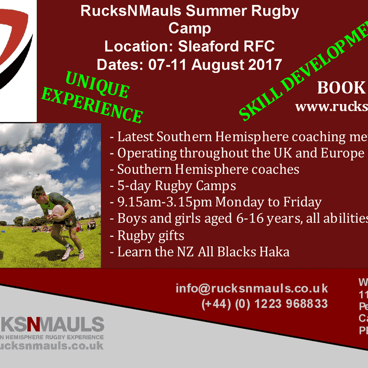 SUMMER RUGBY CAMP @SLEAFORD RUGBY CLUB