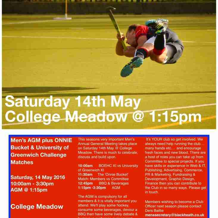 AGM & CHALLENGE MATCHES SAT 14th MAY