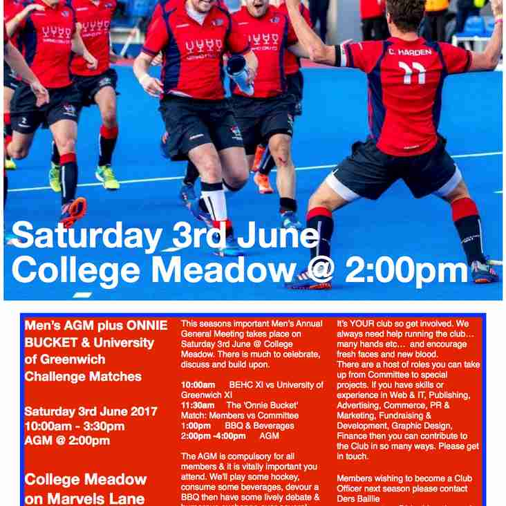 MEN'S AGM & CHALLENGE MATCHES - SAT 3rd JUNE