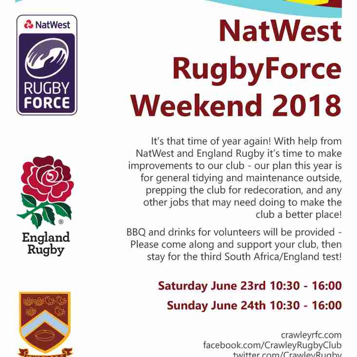 NatWest RugbyForce 2018 - THIS WEEKEND!