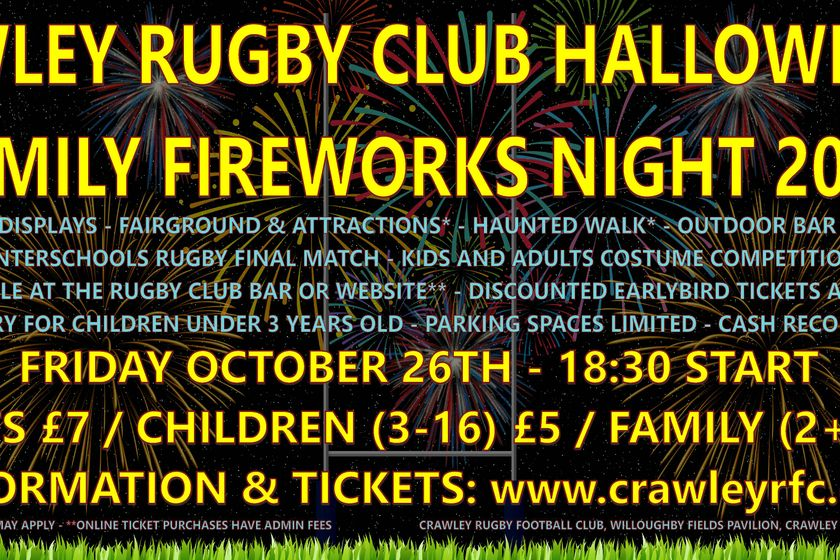Crawley RFC Halloween & Family Fireworks Night 2018!