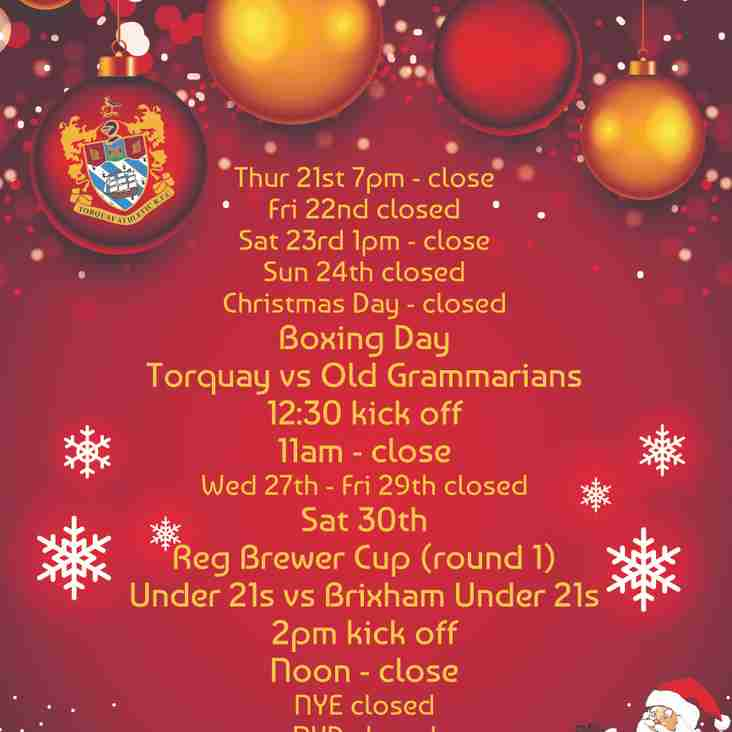 Christmas Operating Hours