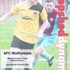 Original Programme Used Against A.F.C. Wulfrunians M.F.L. 6.2.2016 Played 26.4.2016