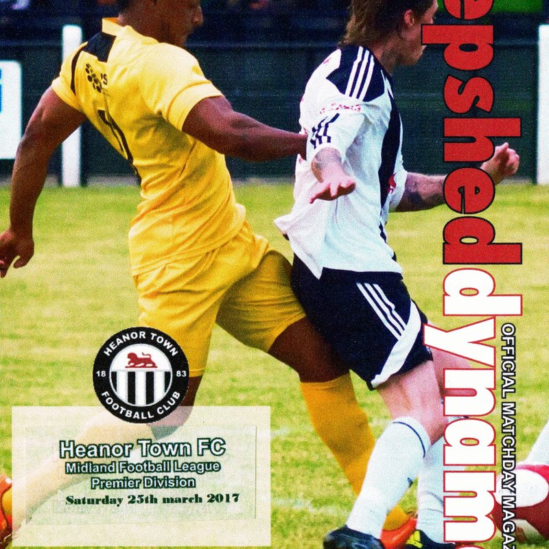 Heanor Town M.F.L. Original Prog Used 16 -  2.1.2017 -  Game played 25.3.2017