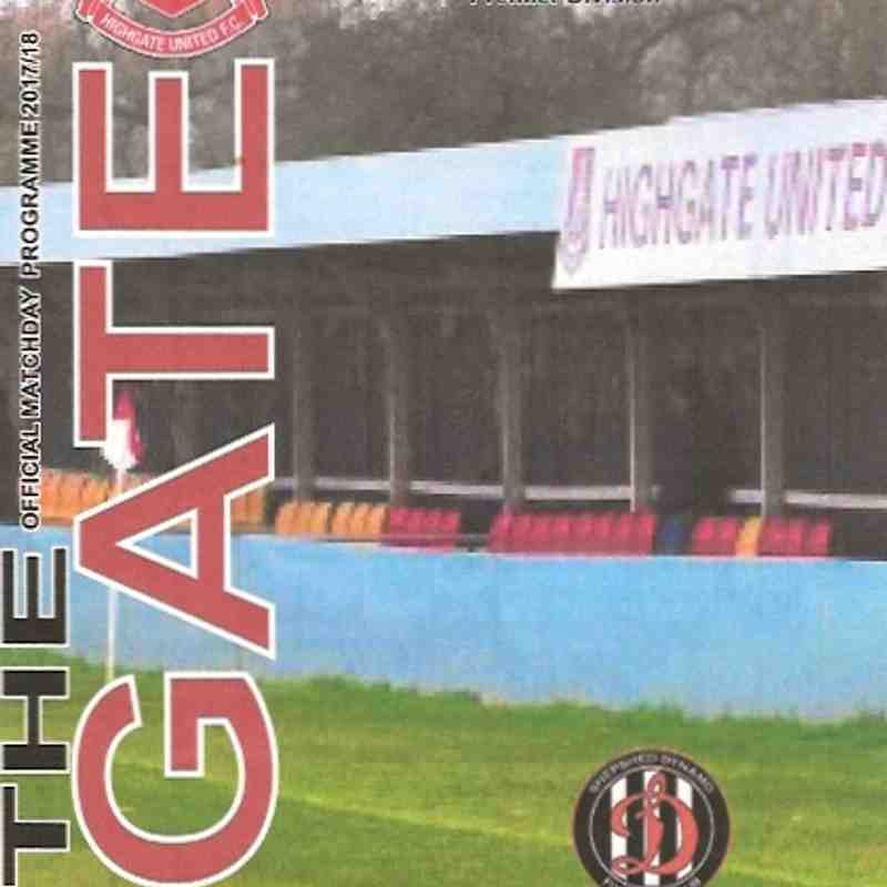 Full match v Highgate United F.C. 14.10.2017 2 Videos Clips are on You Tube and were provided by Danny Pole.Clips to big for our website video quality would have been very poor