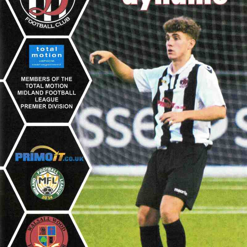 Programme Cover Walsall Wood F.C. and Chairman's Notes Plus Team Sheet 11.9.2018