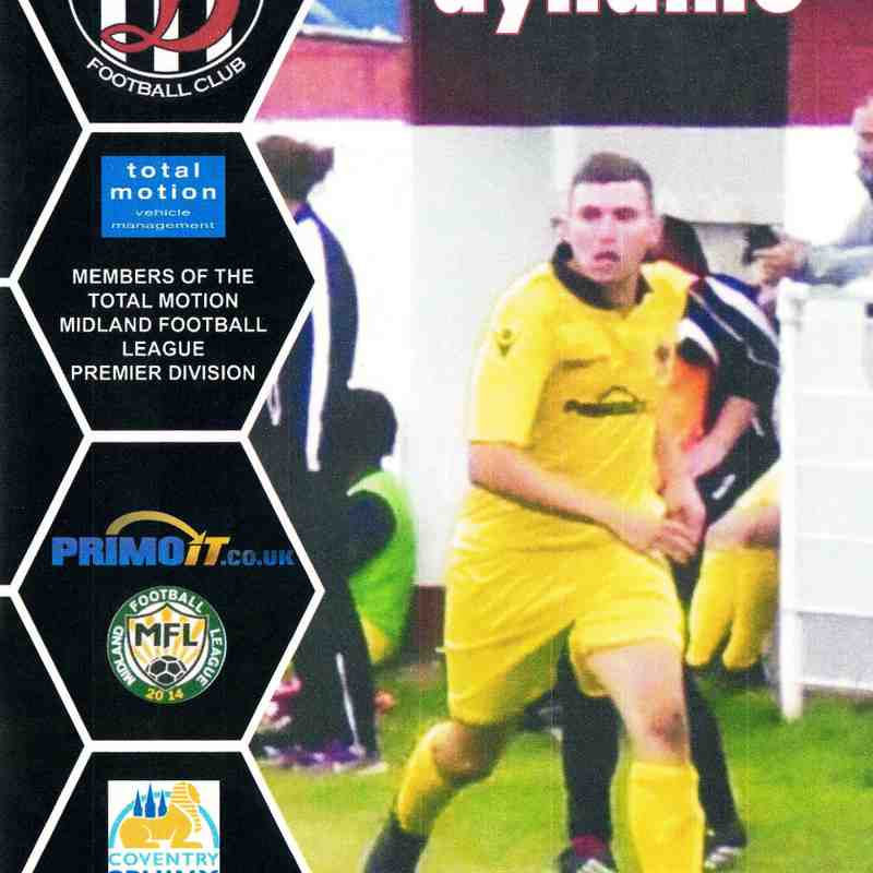 Programme Cover Coventry Sphinx F.C. and Chairmans Notes Plus Team Sheet 2.10.2018