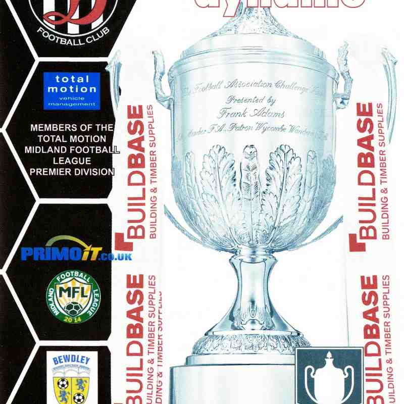 Programme Cover Bewdley Town F.C. and Chairman's Notes Plus Team Sheet 13.10.2018