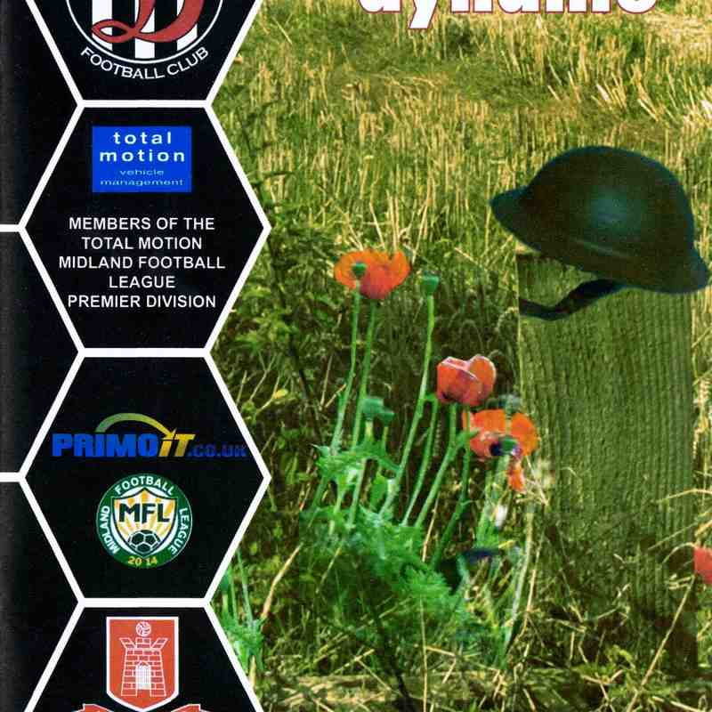 Programme Cover Highgate United F.C. and Chairman's Notes Plus Team Sheet 10.11.2018
