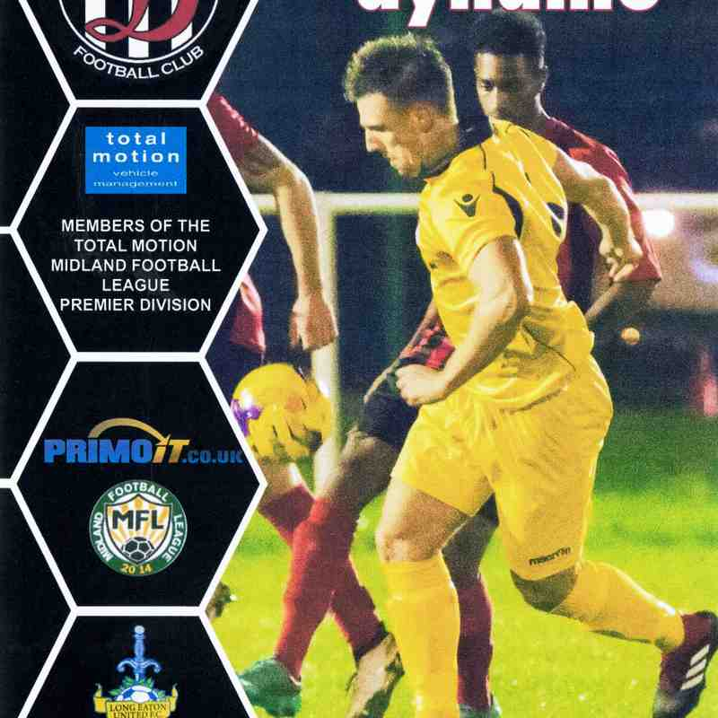 Programme Cover Long Eaton United F.C. and Chairman's Notes Plus Team Sheet 24.11.2018