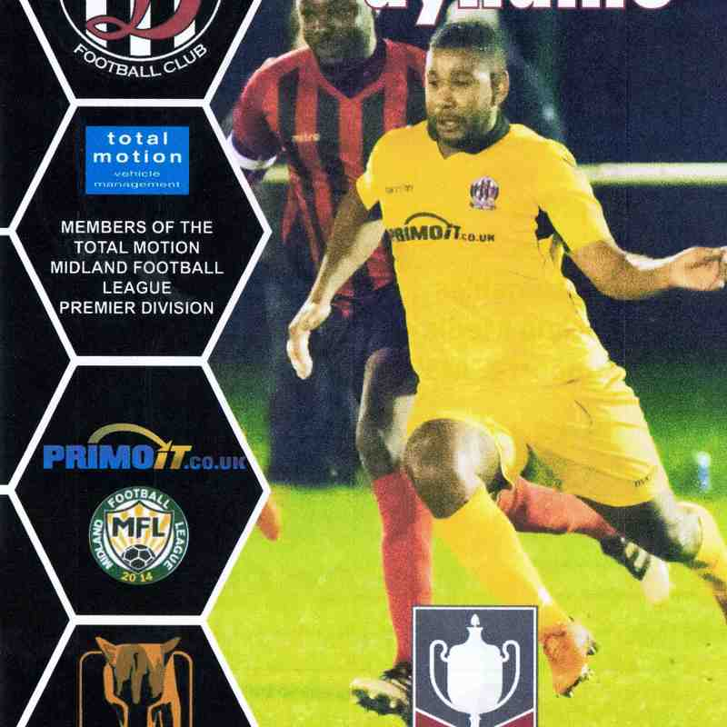 Programme Cover NKF Burbage F.C. and Chairman's Notes Plus Team Sheet 1.12.2018