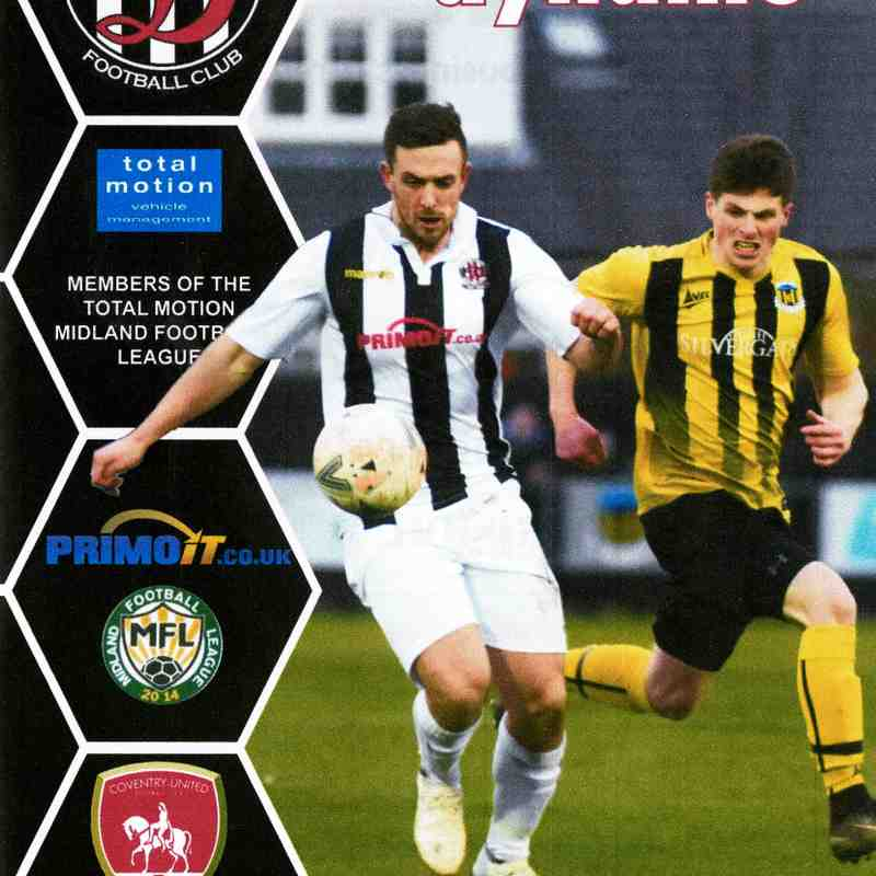 Programme Cover Coventry United F.C. and Chairman's Notes Plus Team Sheet 12.1.2019