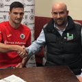 Snr Chairman David Fenwick seen with Luke Mascall signing on for Grimsby Borough.