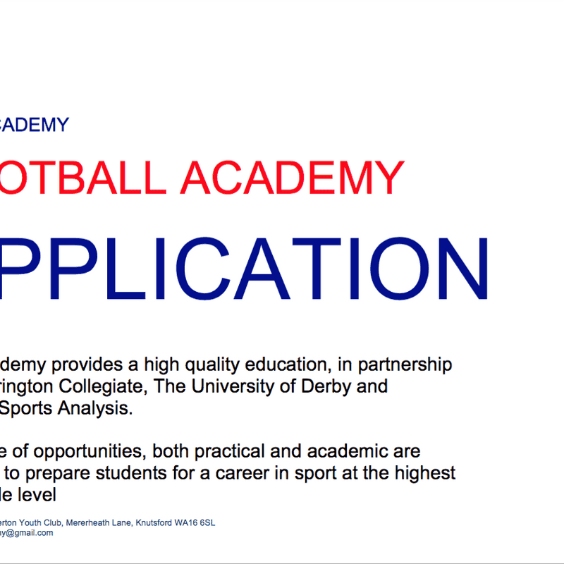 ACADEMY APPLICATION 2016