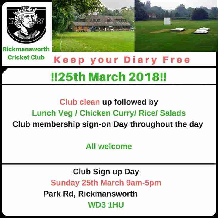 Club Day  Sunday 25th March 9am to 5pm