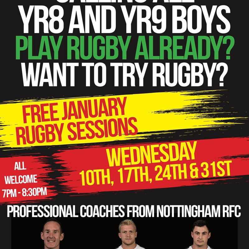 Year 8 or 9?  Free Coaching with Nottingham Rugby Professionals