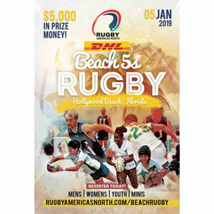 Saturday January 5th 2019 Beach 5's Rugby Tournament at Hollywood Beach Florida.