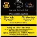 Old Albanians Pre-Season Friendly - Saturday 26th August
