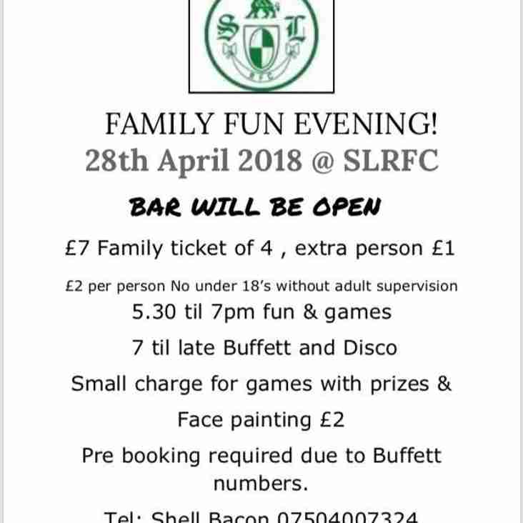 Family Fun Evening 28th April