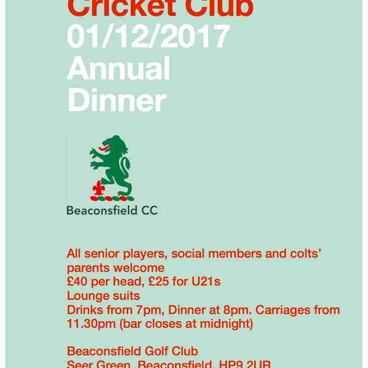 Save The Date - BCC Annual Dinner 1st December 2017