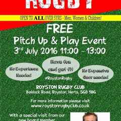 WOMEN AND GIRLS INVITED TO ROYSTON RFC PITCH UP AND PLAY EVENT SUN 3RD JULY