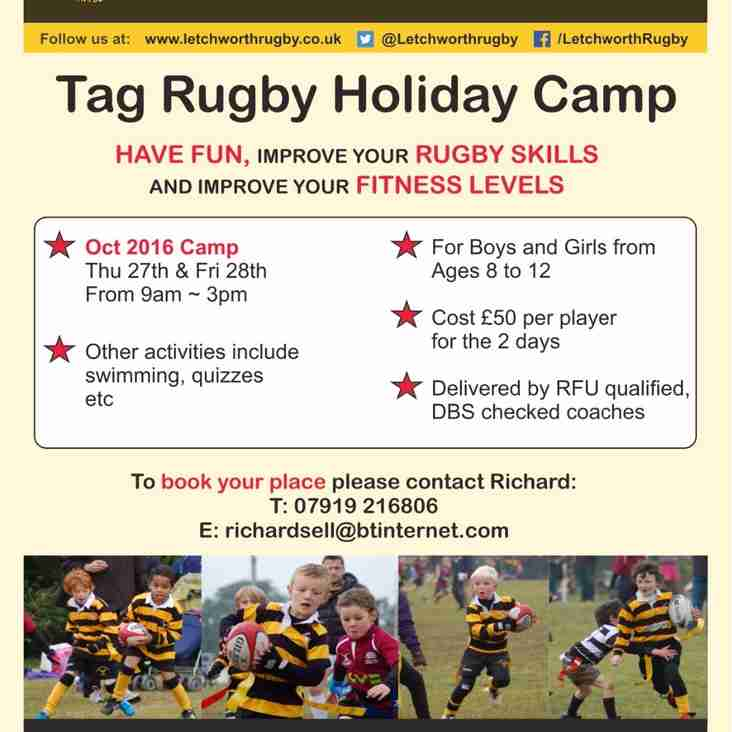 October Half Term Tag Rugby Camp for 8 to 12 year olds