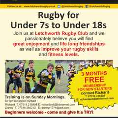 COME AND PLAY JUNIOR RUGBY AT LETCHWORTH RUGBY CLUB